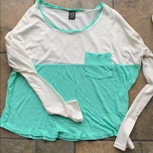 Empyre White and mint crop top